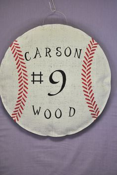 Burlap Baseball Door Hanger by AllUniqueThings on Etsy, $22.00