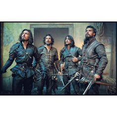 "(L to R) Tom Burke, Santiago Cabrera, Luke Pasqualino & Howard Charles in BBC's ""The Musketeers"" ~ Credit to loveel-who on tumblr"