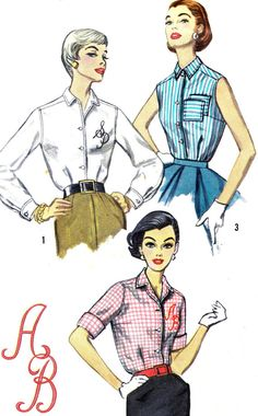 1950s Blouse Pattern Simplicity 2195 Rolled Cuffs by paneenjerez, $9.00