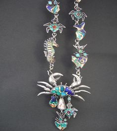 Kristin Holeman: cloisonné necklace,  'Under the Sea'