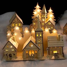 This Christmas village creates festive & joyous mood. 🎆 🌲🎄🌲🎆Noma Laser Cut Crafted Wooden 12 White LED Indoor Static Church And Two Houses With Illuminated Trees Christmas Villages, Christmas Home, Christmas Lights, Christmas Crafts, Christmas Decorations, Xmas, Laser Cut Paper, Laser Cut Wood, Laser Cutting