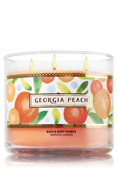"Georgia Peach - 3-Wick Candle - Bath & Body Works - The Perfect 3-Wick Candle! Made using the highest concentration of fragrance oils, an exclusive blend of vegetable wax and wicks that won't burn out, our candles melt consistently & evenly, radiating enough fragrance to fill an entire room. Topped with a flame-extinguishing lid! Burns approximately 25 - 45 hours and measures 4"" wide x 3 1/2"" tall."