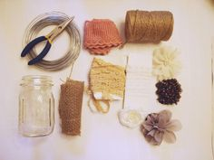 Supplies needed : wire, lace, burlap, jute, mason jars, glue gun, and ...