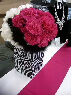 Black Feather, Hot Pink Carnations, White Hydrangea and Zebra Flower Vase Wedding Table Centerpiece/ Decorations Sweet 16 Parties, Pink Parties, Birthday Parties, Birthday Ideas, Theme Parties, Black Centerpieces, White Centerpiece, Safari Centerpieces, Centerpiece Decorations