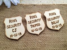 Ring Security Badges SET of 3 Personalized Police Badges with Names and Wedding Date for your Ring Bearers Ushers Junior Groomsman on Etsy, The Office Wedding, Wedding Ushers, Police Wedding, Wedding Vows, On Your Wedding Day, Wedding Season, Dream Wedding, Wedding Reception, Police Officer Wedding