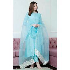 Sky blue cotton suit Casual Indian Fashion, Pakistani Fashion Party Wear, Indian Fashion Dresses, Indian Designer Outfits, Pakistani Outfits, Muslim Fashion, Hijab Fashion, Designer Punjabi Suits, Punjabi Salwar Suits