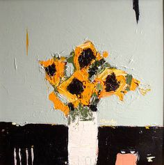 "stilllifequickheart: "" Alison McWhirter Sunflowers Against Duck Egg Blue 2013 "" Modern Art, Contemporary Art, Still Life Flowers, Painting Still Life, Abstract Flowers, Painting Flowers, Botanical Art, Painting Inspiration, Flower Art"