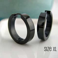 "$19 360Jewels: ""Black Mens Earrings Hoop"" stainless steel minimalist awesome"
