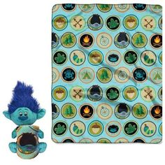Trolls 'Branch' Character & Super Plush Throw Set:This an adorable plush hugging fleece throw from this season's hottest movie, Trolls by Dreamworks. Kids Bedding Sets, Kids Blankets, Master Room, 3rd Baby, Sewing Studio, Fleece Throw, Treasure Boxes, Dreamworks, Troll