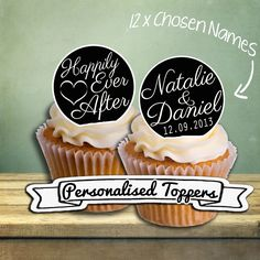 24 x Personalised Wedding, Happily Ever After, Edible Rice Paper Cupcake Cake Toppers Chosen Names Great Favor Ideas