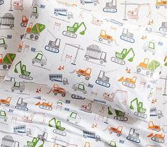 Construction Flannel Sheet Set, Standard Pillow Case, White Multi