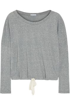 Eberjey's 'Heather' collection is designed for a cozy and comfortable fit. Cut from soft jersey, this gray pajama top has a cream drawstring that gives definition to the relaxed silhouette. Wear yours with the matching pants.