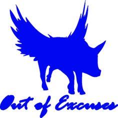 Out of Excuses Flying Pig Blue Vinyl Decal Sticker Barnyard Animal Catch Phrase Vinyl Decals, Sticker, Barnyard Animals, Flying Pig, Fishing Equipment, Moose Art, Batman, Superhero, Blue