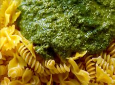 Ina Garten Pesto recipe (make it dairy free!) - The Barefoot Contessa - from FoodNetwork.com.   To make lactose free or dairy free and Vegan, I substitute real grated cheese with Go Veggie brand parmesan (Green label is Lactose Free - Purple label is diary free and vegan). Delicious for anyone who has a dairy intolerance or allergy!