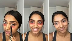 You Won't Believe This Crazy Trick to Get Rid of Dark Circles - use orangered lipstick