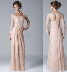 Wholesale 2014 New Collection Hollow Back Mother of the Bride Dresses Formal Gown Evening Dresses With Sheath Lace Appliuqes Long Sleeve Ankle Length