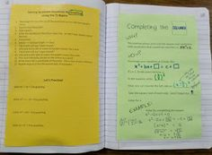 Math = Love: Completing the Square Interactive Notebook Page