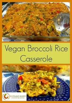 Casseroles just make things easier! I can make Vegan Broccoli and Rice Casserole recipe a day ahead and just pop it in the oven Sunday morning without all of the fuss, rushing around, and clean up. Vegan Broccoli Casserole Recipe, Vegan Casserole, Vegan Dinner Recipes, Whole Food Recipes, Vegetarian Recipes, Healthy Recipes, Vegan Main Dishes, Vegan Kitchen, Plant Based Recipes