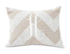 Monogrammed Decorative Throw Pillow Cover Neutral Monogram 12 x 16 Burlap Pillow Chevron Pillow Tan Taupe Graduation Gift