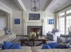 Symmetric Blue and white Living Room. Lynn Morgan Design.