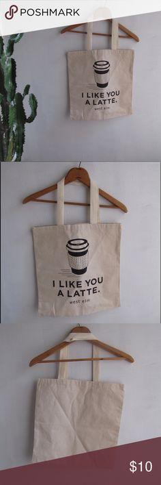 Cute west elm tote bag #171018014 Cute tote bag. I like you a latte☺️ west elm Bags Totes