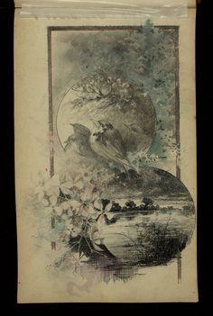 Dibuix d'Alexandre de Riquer per a l'Album d'autògrafs de Marta Pi Ferran (ca. 1905)