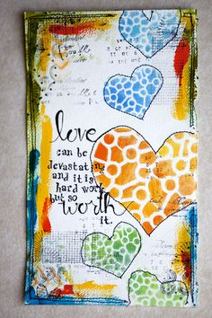 Karen Grunberg using the Balzer Designs Mix & Match Hearts stencil!