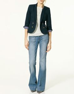 Blazer and wide leg jeans