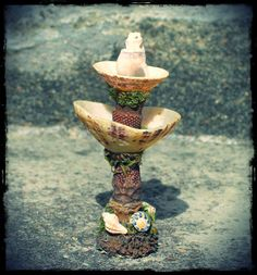 Faery Garden Fountain in seashells and natural by pandorajane