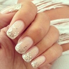 nail art designs with glitter & nail art designs ; nail art designs for spring ; nail art designs for winter ; nail art designs with glitter ; nail art designs with rhinestones Wedding Manicure, Wedding Nails Design, Wedding Makeup, Wedding Designs, Beach Wedding Nails, Glitter Wedding Nails, Bridal Pedicure, Bridal Nails Designs, Sparkle Wedding