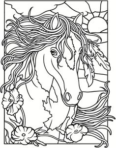 Welcome to Dover Publications / Creative Haven Wild Horses Stained Glass Coloring Book / Marty Noble