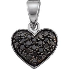 0.24ctw Black Diamond Heart Pendant 10K White Gold ($139) ❤ liked on Polyvore featuring jewelry, pendants, black diamond jewelry, black diamond heart pendant, white gold heart pendant, heart pendant jewelry and white gold pendant