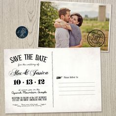 Alex & Jessica Invitation Postcard | Moonpaper Studios