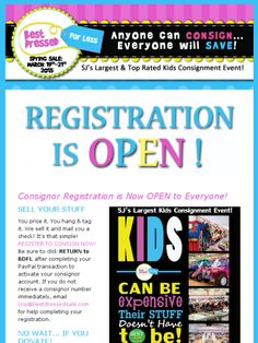 Registration is now OPEN to Everyone for the March 19th-21st (Spring/Summer) Best Dressed for Less Kids Consignment Event in Burlington Township NJ 500 Consignors / 50,000 gently used kids items - 3 days only! Learn more www.bestdressedsale.com