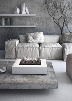 ♅ Dove Gray Home Decor ♅  light grey and white modern minimal living room