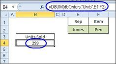 Use DSUM to total values in a named Excel table