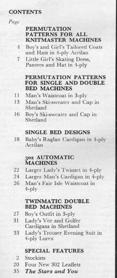 Modern Knitting March 1967 - Contents