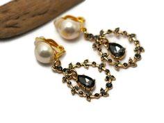 Victorian earrings clip on earrings Chandelier by UneDemiLune