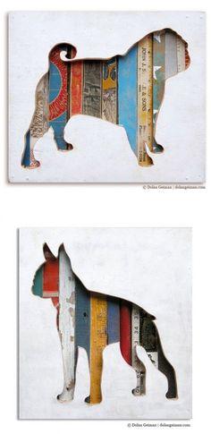 wood scrap dog silhouette art by Dolan Geiman #CatSilhouette