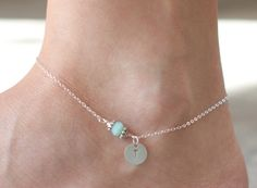 Initial anklet-sterling silver initial charm anklet. $25.00, via Etsy.