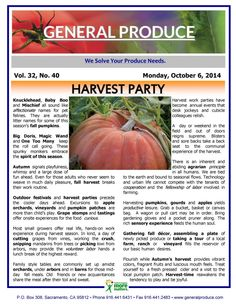 Harvest Party. Read about this season's newest pumplkins!