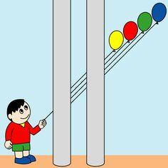"""""""Which balloon a boy has ?"""" Optical illusion,Hidden picture, http://asobidea.co.jp/en/service/illusion/"""