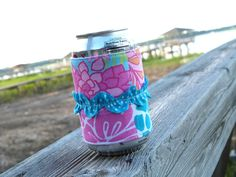 Handmade Coozie in Lilly Pulitzer Palm Beach Patch Patch. $15.00, via Etsy.