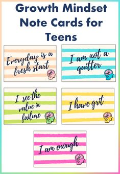 Growth Mindset Note Cards for Teens School Resources, Learning Resources, Teacher Resources, Teaching Ideas, Classroom Resources, Classroom Ideas, Behavior Management Strategies, Reading Strategies, Classroom Management