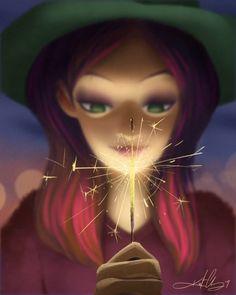 #fireworks #sparklers #sparkle #illustration #animation #loopanimation #loop #kurtchangart #art #instaart #artist #artistsoninstagram #instagood #night #lighting #girl #beauty #blur #mysterious #smile