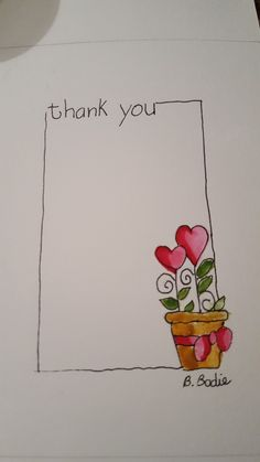 Thank you card design Art Carte, Paint Cards, Happy Paintings, Flower Doodles, Watercolor Cards, Creative Cards, Diy Cards, Homemade Cards, Hand Lettering
