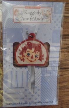 RARE-Mint-in-Package-Raggedy-Ann-Red-Face-Rubber-Key-Cap-Cover