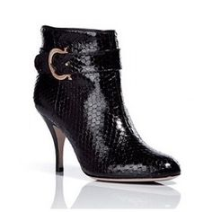 Salvatore Ferragamo Black Python Embossed Ankle Boots