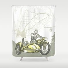 Vintage Hockenheim Motorbike Ad Shower Curtain #sold on #Society6