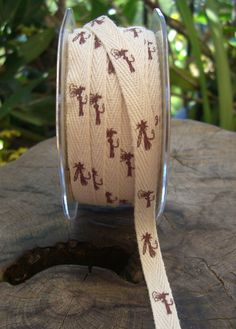 """For Paul's fishing tournament?  Natural Cotton Ribbon with Printed Fish Hook Flies 3/8"""" wide 27 yard spool"""